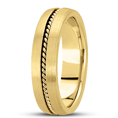 Satin Finish Rope Yellow Wedding Band