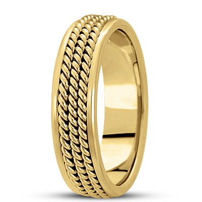 Trio Rope Men's Yellow Wedding Ring