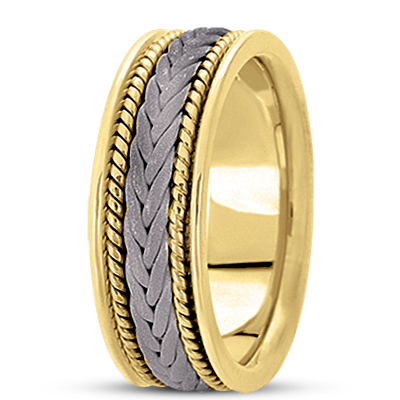 Sand Blast Woven Rope Two Tone Wedding Band