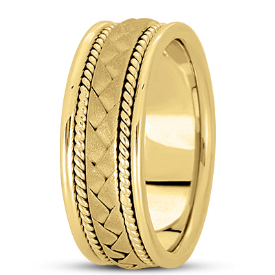 Sand Blast Woven Rope Yellow Wedding Band