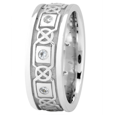 Celtic Wedding Band Bezel Round Diamonds