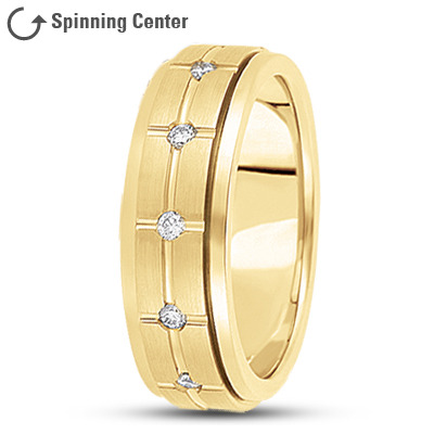Diamond Cross Spinner Wedding Band Yellow