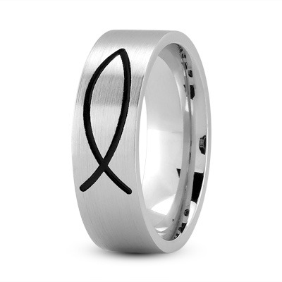Black Rhodium Ichthys Ring 7mm White