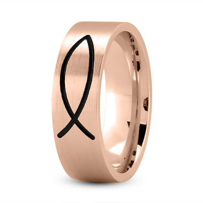 Black Rhodium Ichthys Ring Rose Gold