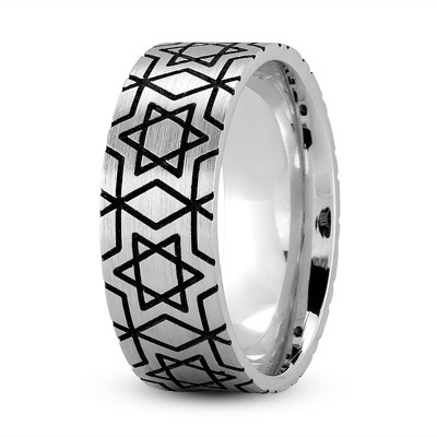 Star of David Black Rhodium Ring
