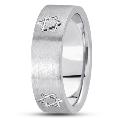 Engraved Star of David Men's Satin Band