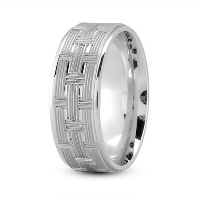 8mm Weave Engraved Wedding Band