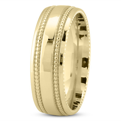 Comfort Fit Milligrain Yellow Band 7mm