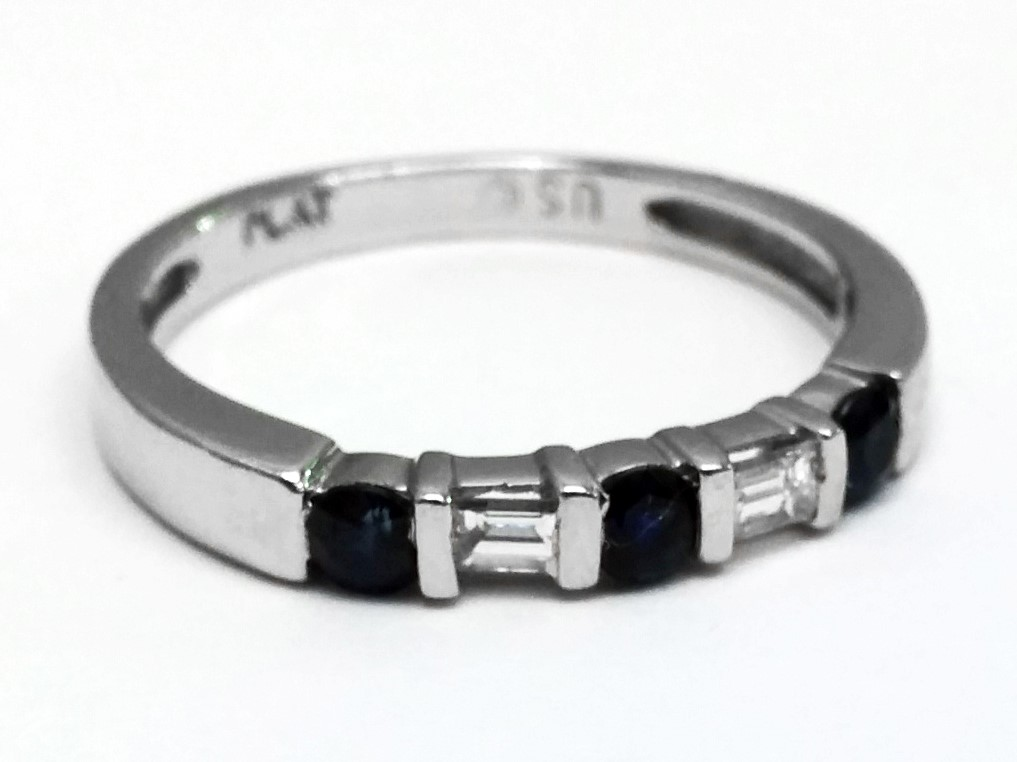 Five Stone Baguette Diamond & Round Blue Sapphire Wedding Band 0.35 tcw.
