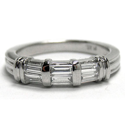 Six Stone Straight Baguette Cut Diamond Wedding Band 0.60 Carat in 14K White Gold