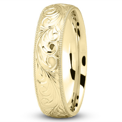 Rococo Engraved Vintage Yellow Wedding Band