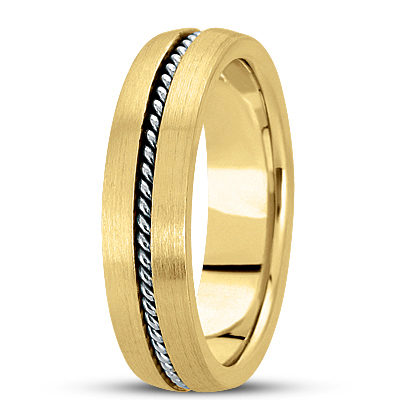 Satin Finish Rope Two Tone Wedding Band