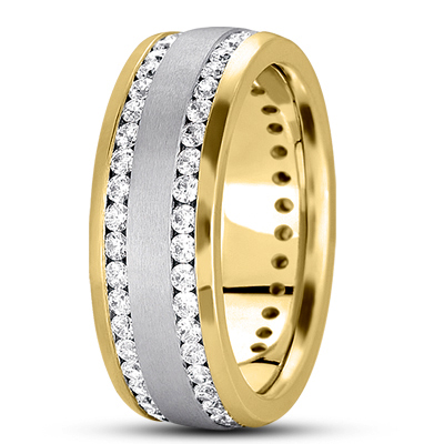 Tow Row Channel Diamond Two Tone Band