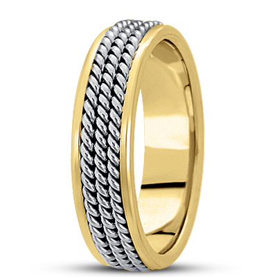 Three Rope Men's Two Tone Wedding Band